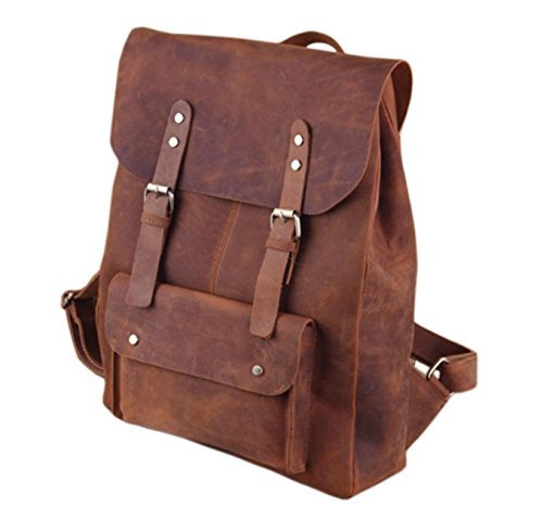 FC Leather Backpack Leather Rucksack Travel School College Everyday Backpack Soft Leather