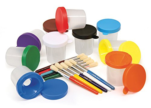 Creativity Street No-Spill Paint Cups and Brushes Set (AC5104)