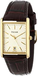 Pulsar Men's PXDA84 Gold-Tone Watch with Brown Leather Strap