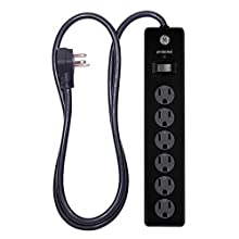 GE 6 Outlet Surge Protector, 4 Ft Extension Cord, Power Strip, 800 Joules, Twist-To-Close Safety Covers, Black, 33659