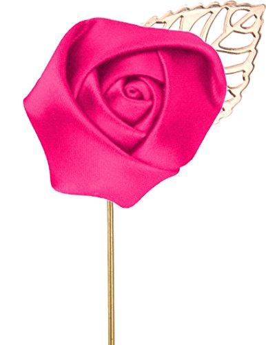 Flairs New York Gentleman's Essentials Premium Handmade Flower Lapel Pin Boutonniere (Pack of 1 Pin, Fuchsia Pink [Rose Gold Leaf])