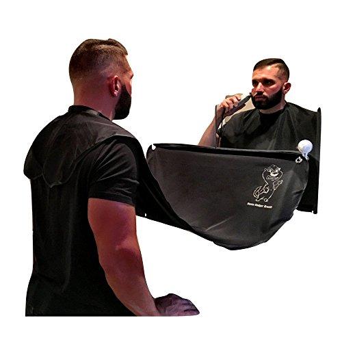Honey Badger Brands Mens Facial Hair Grooming Kit Includes Beard Bib, Suction Cups, Shaper and Bag (Black)
