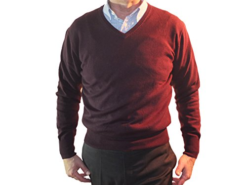 Suéter Punto V Prendas Cashmere 100 Manga Larga En De American Plum Hombre Cuello Para Cachemira Pulòver 1st Invierno qtFp1n