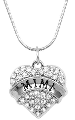 Mimi Necklace Engraved Gift Jewelry Mimi Crystal Adorned Heart Shaped Pendant Snake Chain Necklace Gift Mom Grandma Colorless