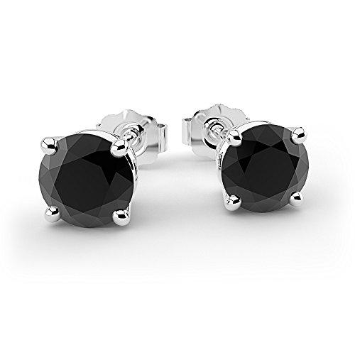 Or blanc 14carats 0,20ct Noir Diamant coupe ronde boucles d'oreilles 4griffes