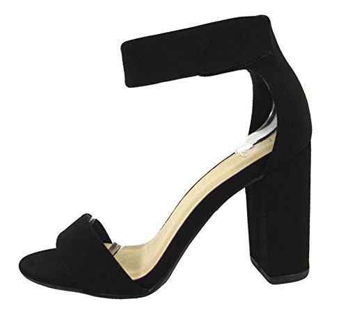 Black Heels Sandals Studio Womens (Delicious Womens Open Toe High Heel Ankle Strap Shoes Black Nubuck Pu 8.5)