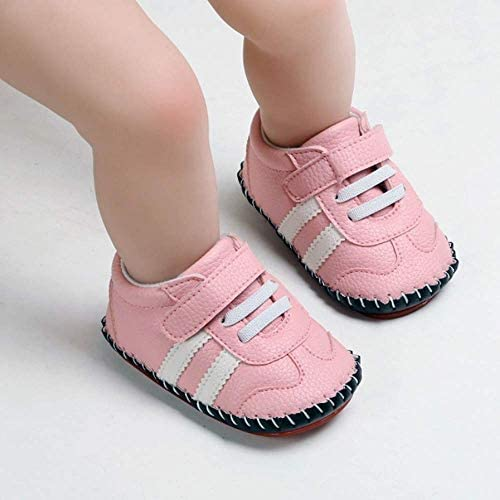 41mChgUn8ZL. AC - SOFMUO Baby Girls Boys Pu Leather Sneakers Anti-Slip Rubber Sole Cartoon Moccasins Handmade Newborn Slippers Hard Bottom Toddler First Walkers Infant Crib Shoes