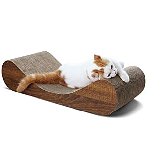 ScratchMe Cat Scratching Post Lounge Bed, Curve Shape Cat Scratcher Cardboard with Catnip, Durable Recycle Board Pads Prevents Furniture Damage
