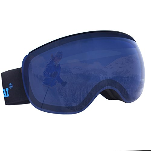 Unigear OTG Ski Goggles, Over Glasses Snowboard Snow Spherical Anti-Fog Goggles for Men & Women with Interchangeable Lens and 100% UV400 Protection, Portable Box Included (Blue Lens (VLT 24%))