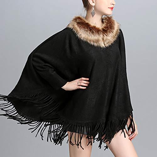 HANMAX Fourrure Noir Unique Cape Taille en Automne Manteau de Laine Femme Manches Pull Hiver Longue Col n6nBzxqg