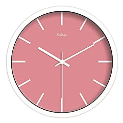 Art Wall Clock Pink Quartz Clock Solid Color Student Bedroom Living Room Wall Hanging Table Clock 12 inch Metal White Frame