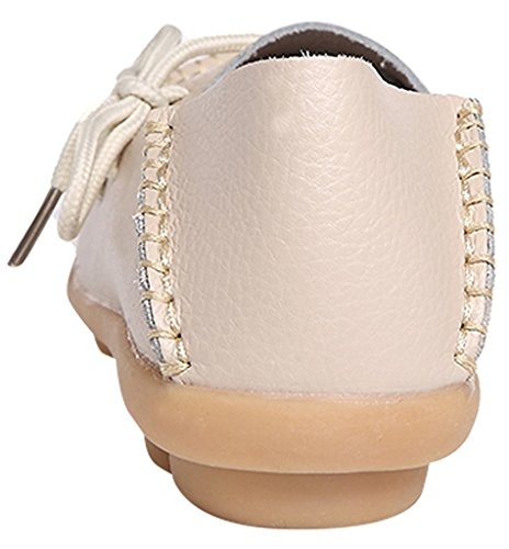 Slip Loafers Sty Cowhide ONS Leather Beige Women's Flat Shoes 1 Slipper Fangsto p0IanZqn