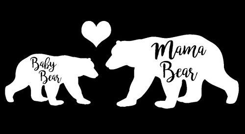 Mama Bear and Baby Bear Decal Vinyl Sticker|Cars Trucks Vans Walls Laptop| White |7.5 x 2.75 (Easy Bear Costume)