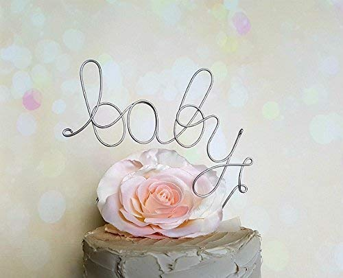 BABY Cake Topper in SILVER Finish Newborn Gender Revealing Party Baby Shower Decoration -