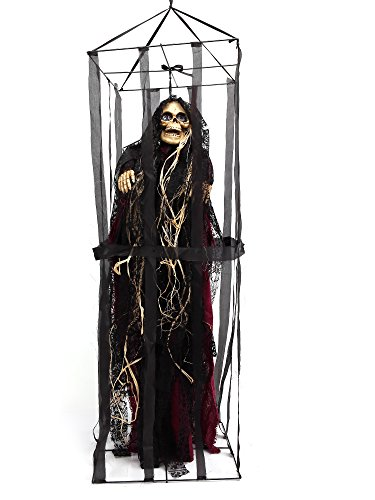 Crusar Caged Animated Skeleton Hanging Ghost Jail Prisoner Voice Activated Scary Spooky Halloween Prop
