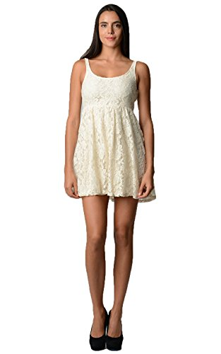 Urban Love Empire Waist Allover Lace Dress Small Cream 6 (Ivory Lace Empire Waist Dress)