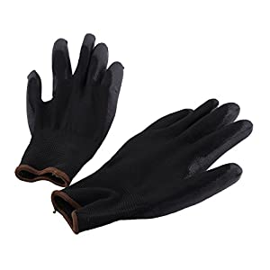 Safety Work Gloves, Polyurethane/Nylon Palm Coated Glove Garden Builders Black (Set of 12 Pairs) (Large)