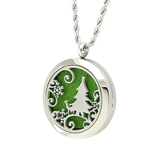 Surgical Round Pendant Steel - Jenia Christmas Series-Hypoallergenic 316L Surgical Grade Stainless Steel Aromatherapy Essential Oil Diffuser Necklace Round Hollow Locket Pendant