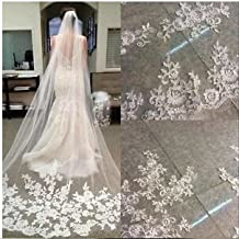 WAJY White Ivory Lace Edge Cathedral Length Wedding Bridal Veil+Comb