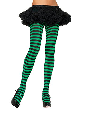 Leg Avenue Women's Nylon Striped Tights, Black/Kelly Green, One Size