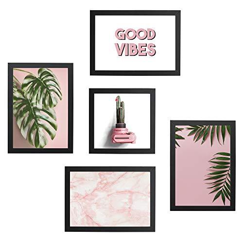 Conjunto Quadros Decorativos Rosa Vibes Moldura Preta 74x74cm - Prolalb Gift