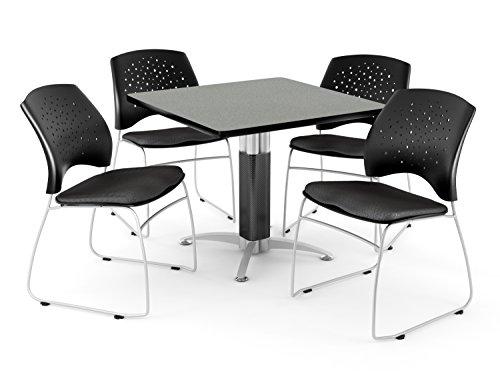 OFM PKG-BRK-018-0032 Breakroom Package, Gray Nebula Table/Black Chair by OFM