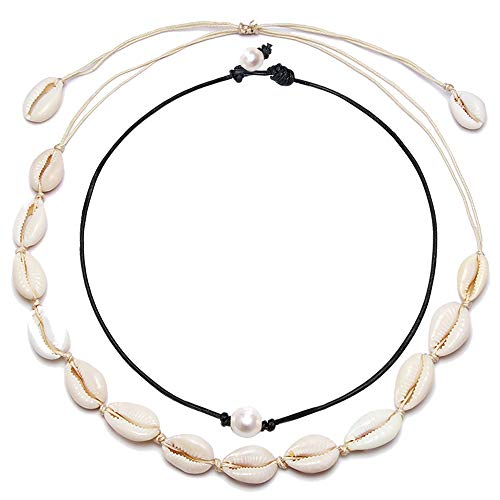 BOMAIL Single White Pearl Choker Necklace with Three Beads Freshwater Pearls Choker Necklace on Genuine Leather Cord Knotted Jewelry for Women Girls (XW-2P) -