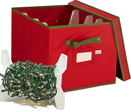 WHYSKO Christmas Light Storage Box with Lid and Reinforced Handles - Includes 4 Plastic Light Wrap Organizers - Holds Light-Strands of up to 800 Bulbs, Garlands and All Types of Extension Cords (Red)