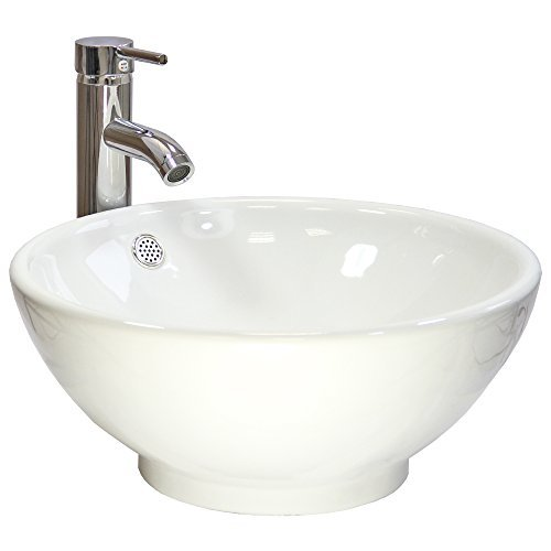Blupp Round Countertop Bathroom Wash Basin Sink & Tap White 40.5cm x 17cm x 40.5cm Ceramic by KuKoo