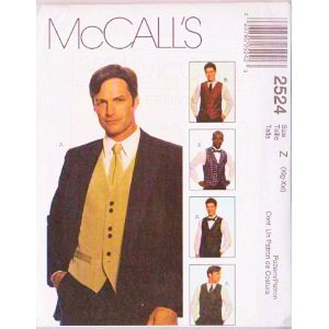 (McCall's 2524 Men's Formal Lined Vest, Tie , Bow Tie, Sewing Pattern Size Sm, Med, Lg (34 to 44))