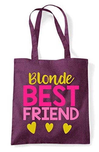 Friend Best Plum Tote Bag Bff Shopper Blonde Statement Matching Friends U7xqw5fg
