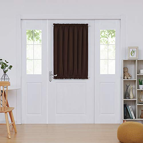 Deconovo Door Blackout Curtain French Door Curtains Blackout Drapes for Living Room 54x40 Inch Chocolate 1 Panel