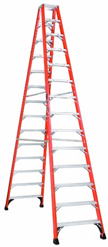 Louisville Ladder FM1414HD Fiberglass Twin Front Ladder, 14 Feet, 375 Pound Duty Rating - Twin Platform Step Ladder
