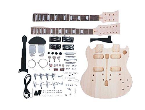 niceeshop(TM) Basswood Double Neck SG Model DIY Semi-finished Electric Guitar Kit (Burlywood Color)