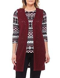 Plus Longline Pointelle Knit Vest Bordeaux 1X