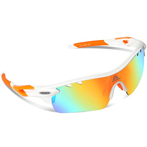 HODGSON Polarized Sports Sunglasses with 5 Interchangeable Lenses for Men Women Cycling Baseball Running Glasses, TR90 Unbreakable -Orange (Sight Contact Lenses)
