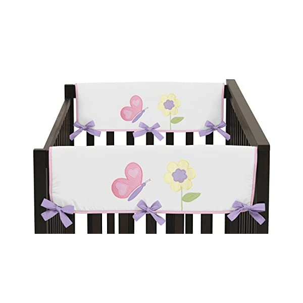 Sweet Jojo Designs 2-Piece Pink and Purple Butterfly Teething Protector Cover Wrap Baby Girl Crib Side Rail Guards