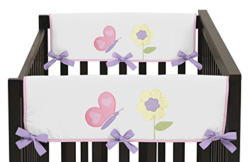 Sweet Jojo Designs 2-Piece Pink and Purple Butterfly Teething Protector Cover Wrap Baby Girl Crib Side Rail Guards by Sweet Jojo Designs