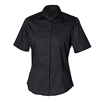Henbury womens ladies short sleeve oxford fitted work for Womens button down shirts fitted