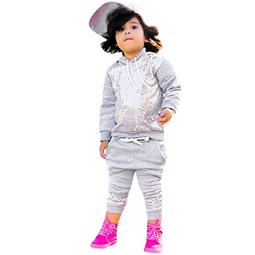(Kids Girl Outfits,Fineser Fashion 2Pcs Toddler Kids Baby Girl Hooded Sequins Tops+Pants Outfit Clothes Sets Long Sleeves (Gray, 24 Month(100)))