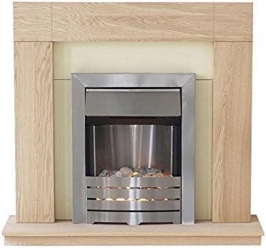 Adam Malmo Electric Fireplace Suite Oak with Helios Electric Fire, 2000 Watt