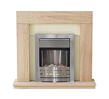 Adam Malmo Electric Fireplace Suite Oak with Helios Electric Fire ...