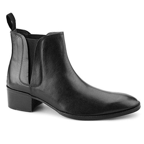 Gucinari George Mens Cuban Heel Chelsea Boots Black