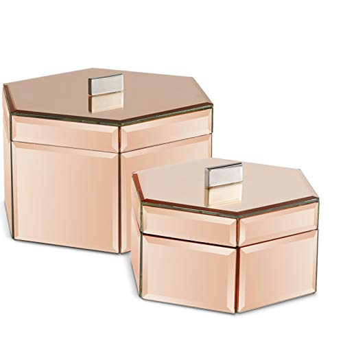 (Beautify Large Octagon Mirrored Rose Gold Glass Jewelry Box Trinket Boxes Desk Organizers for Jewelry and Accessories Rose Gold)