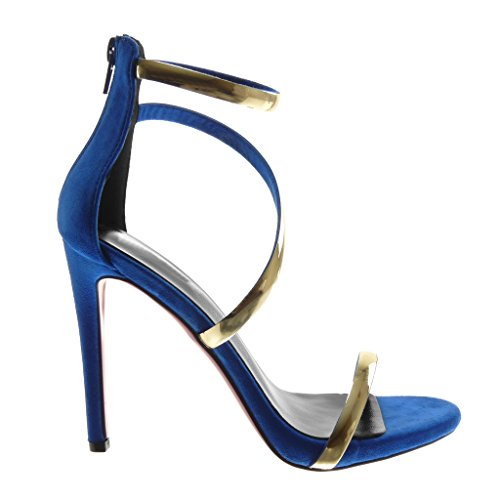 Donna Stiletto Tacco elettrico Cinturino d'oro Blu alla Scarpe Moda Caviglia Stiletto con con Alto cm Tanga Angkorly Decollete Tacco Sandali 11 FP6wFfqY