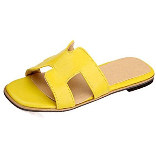 TAOFFEN Mujer Comodo Punta Abierta Sandalias Plano Slide Verano Zapatos Amarillo