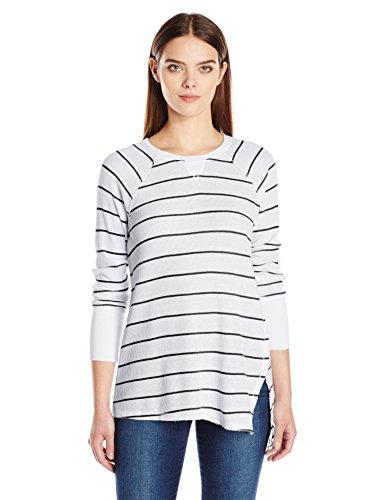 Calvin Klein Performance Women's Distress Wash Stripe Asymmetric Vent Long Sleeve Top, Black, XS