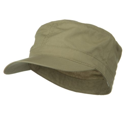e4Hats.com Big Size Fitted Cotton Ripstop Military Army Cap - Khaki 8-1-4 (E4hats Cotton Flap Hat)