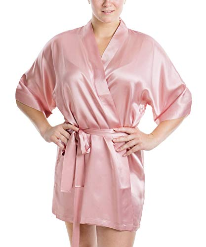(OSCAR ROSSA Women's Luxury Silk Sleepwear 100% Silk Sexy Short Robe Kimono)