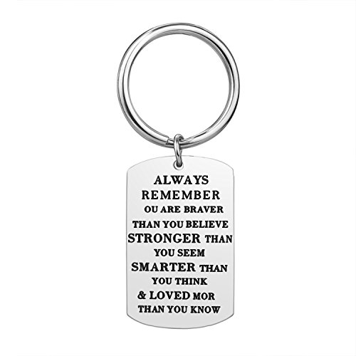 Birthday Gift Family Keychain - Stainless Steel Best Friend Unisex Gifts Motivational Jewelry Inspirational Key Chain for Graduation With Gift Box (Silver)